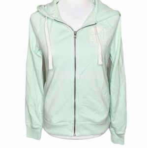 ROOTS mint green zip up hoody sweater size xs